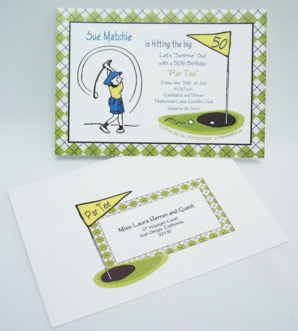 We Also Created A Custom Invitation With The Golf Theme Cute Cartoon Woman Golfer Swings Into Info For This Party An Argyle Print Borders Edge
