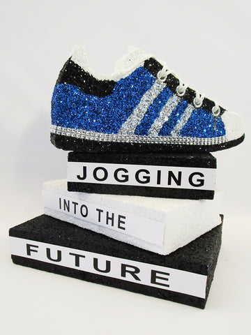 Jogging into the Future graduation centerpiece - Designs by Ginny