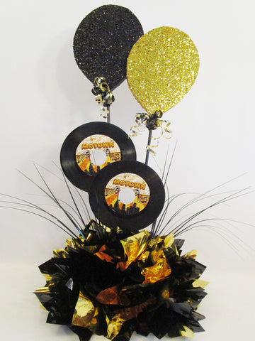Faux balloons and record centerpiece - Designs by Ginny