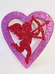 pink open heart with cupid cutout - Designs by Ginny