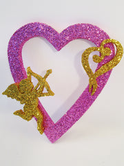 open heart with cupid and small heart cutout - Designs by Ginny