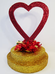 open heart on gold base centerpiece - Designs by Ginny