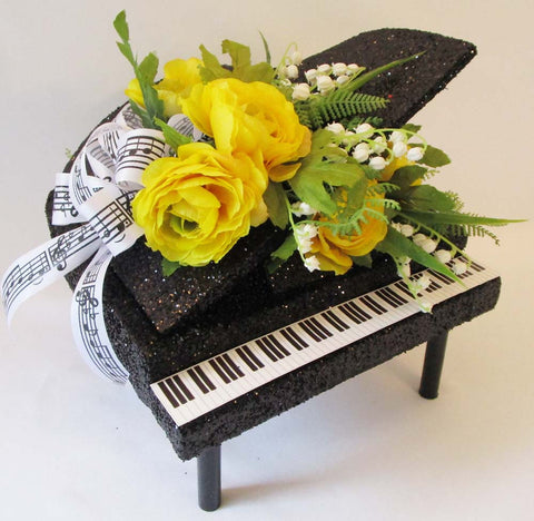 Piano with silk florals table centerpiece - Designs by Ginny
