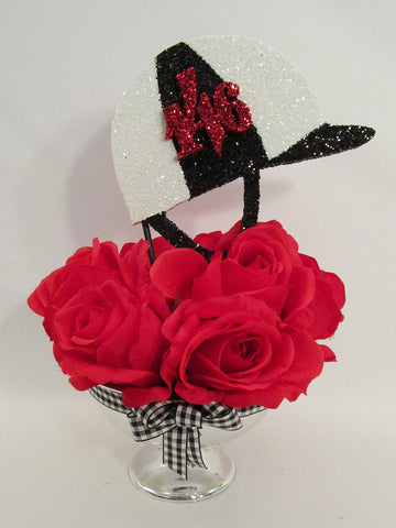 Red roses and jockey cap centerpiece - Designs by Ginny