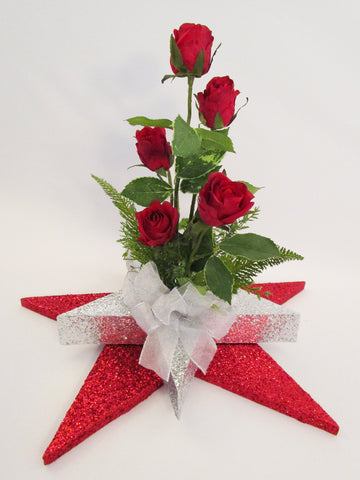 red roses- silver star and red star base centerpiece - Designs by Ginny