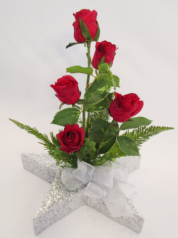 red roses on silver star centerpiece - Designs by Ginny
