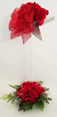 red roses and geraniums with star topper centerpiece - Designs by Ginny