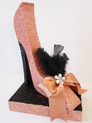stiletto high heel shoe-bow and feathers - Designs by Ginny