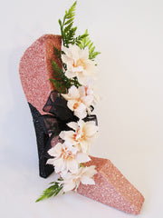 stiletto high heel shoe with silk flowers - Designs by Ginny