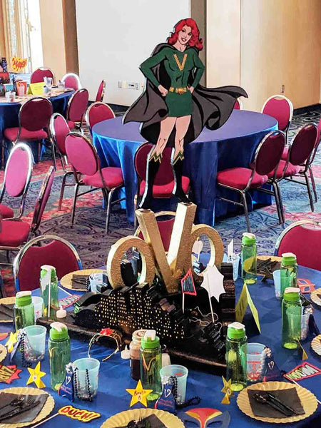 Super Woman themed centerpiece - Designs by Ginny
