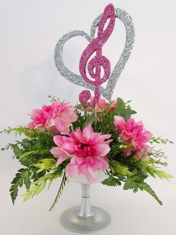 Treble Clef in Heart floral centerpiece - Designs by Ginny