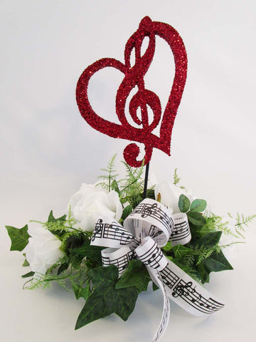 Treble Clef in Heart with roses centerpiece - Designs by Ginny