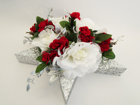white and red roses on silver star centerpiece - Designs by Ginny