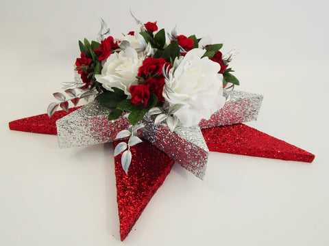 White and red roses on star centerpiece - Designs by Ginny