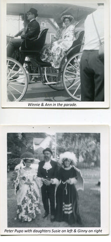 Winnie & Ann in carriage, Peter Pupo with daughters Susie & Ginny