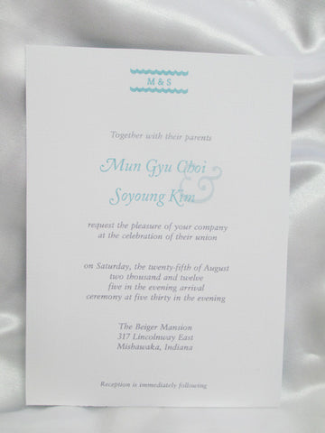2 sided Aqua & White Wedding Invite