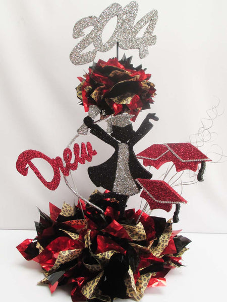 Grad Girl, name, year 2 tier graduation centerpiece - Designs by Ginny