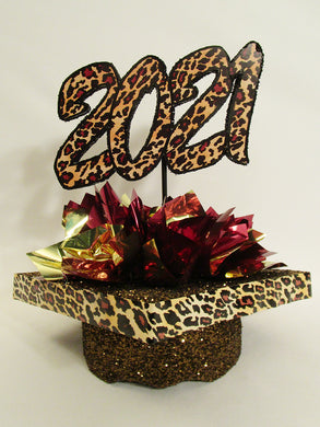 2021 Leopard Graduation Centerpiece - Designs by Ginny
