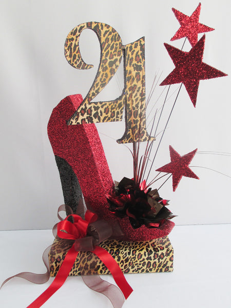 high heel shoe with number 21 centerpiece - Designs by Ginny