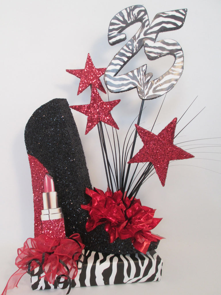High heel shoe centerpiece with lipstick stars zebra