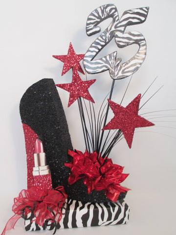 High heel shoe with zebra print centerpiece - Designs by Ginny