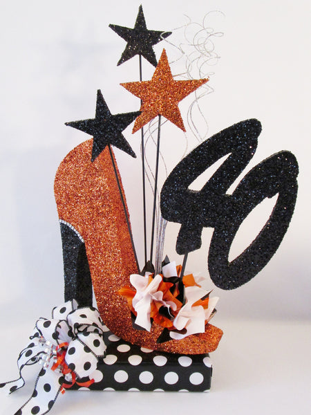 40th high heel shoe with black & white polka dots centerpiece - Designs by Ginny