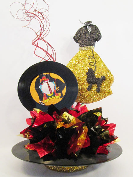 50's poodle skirt & record centerpiece - Designs by Ginny