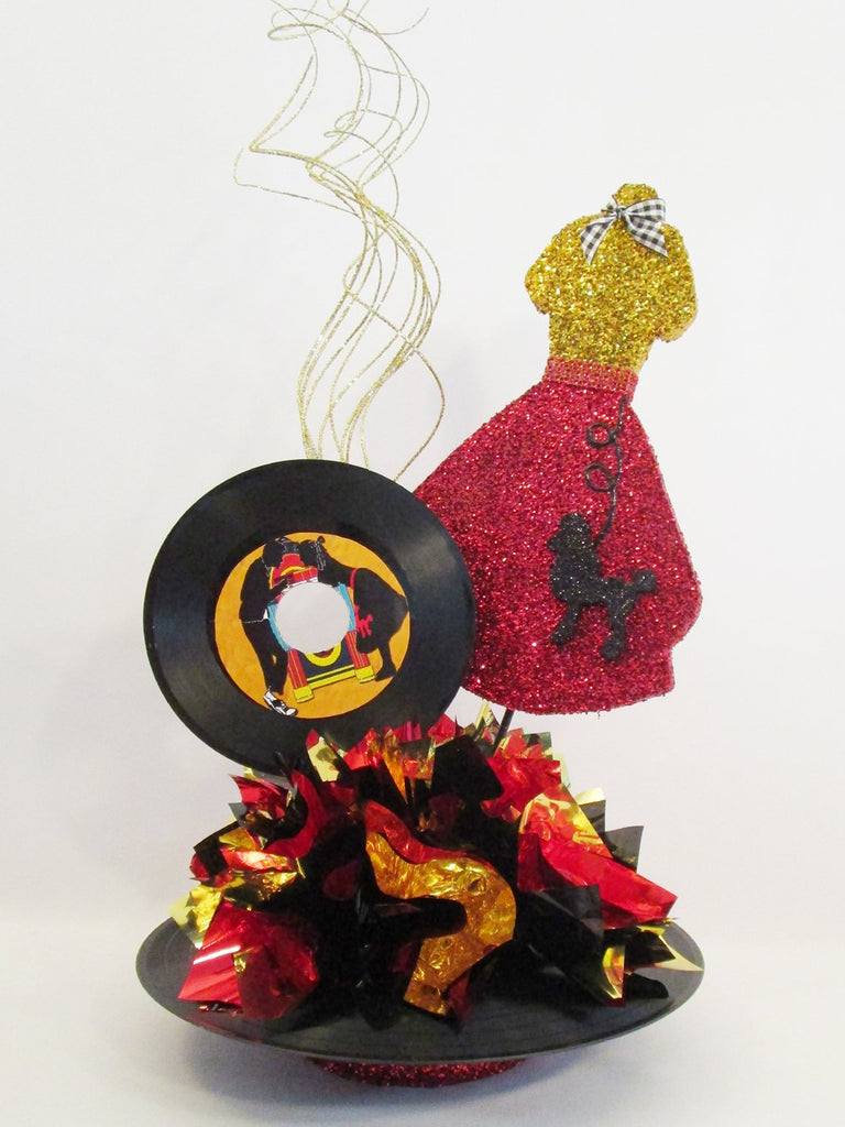 50's dress & record centerpiece - Designs by Ginny