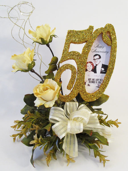 50th anniversary centerpiece with gold roses & picture- Designs by Ginny