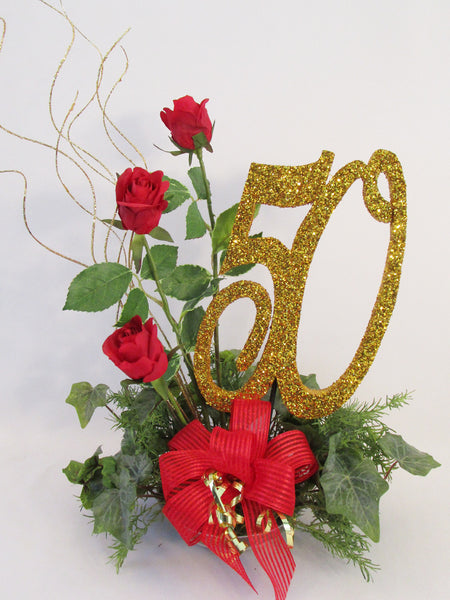50th anniversary centerpiece with gold 50 & red roses - Designs by Ginny