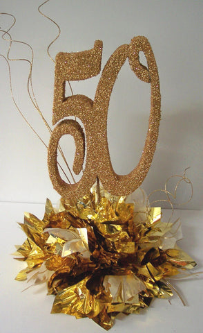 50th anniversary centerpiece on metallic tissue base - Designs by Ginny