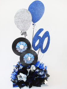 60th balloons and records birthday centerpiece - Designs by Ginny