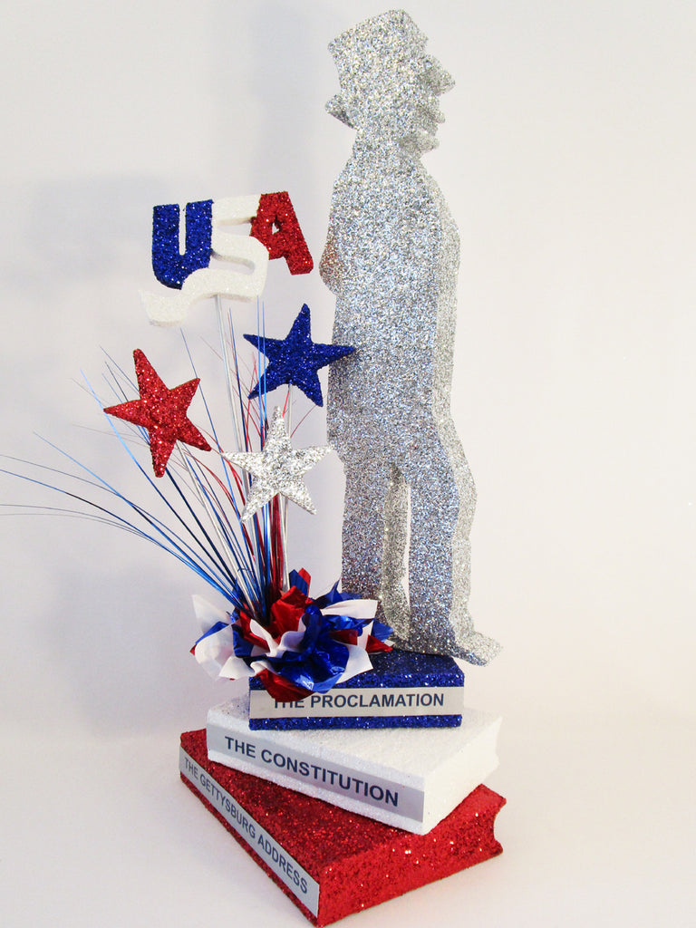 Lincoln on faux stack of books, stars & usa cutout centerpiece - Designs by Ginny
