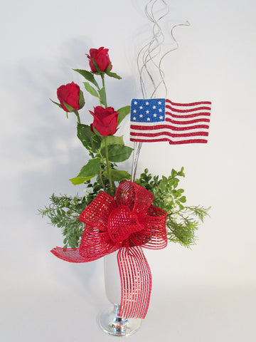 American flag & red roses centerpiece - Designs by Ginny