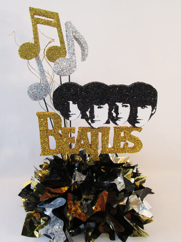 Beatles cutout & custom face cutout with musical notes centerpiece- Designs by Ginny