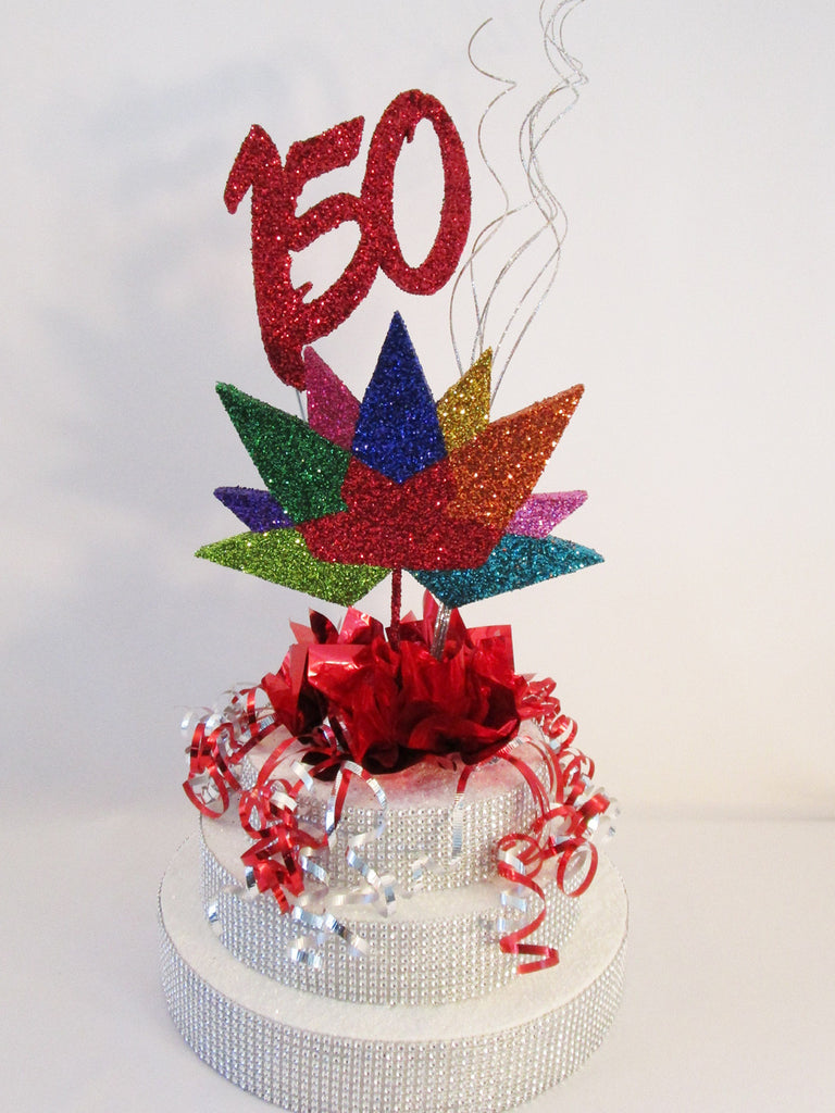 Canada's 150th anniversary centerpiece with logo - Designs by Ginny