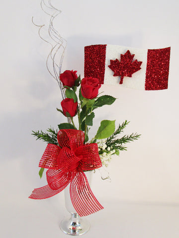 Glittered Canadian Flag with red roses centerpiece - Designs by Ginny