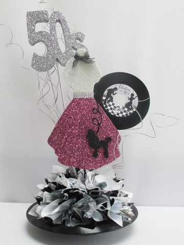 50's style dress cutout with poodle  & record centerpiece