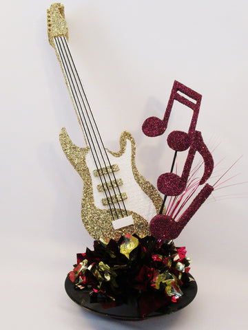 Guitar on Record Base Centerpiece - Designs by Ginny