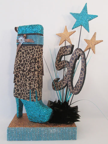 High heel boot with leopard fringe birthday centerpiece - Designs by Ginny