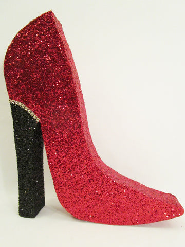 Styrofoam Red High heel shoe with black heel - Designs by Ginny