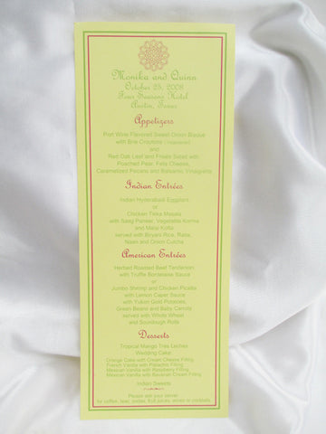 Slimline Menu Card