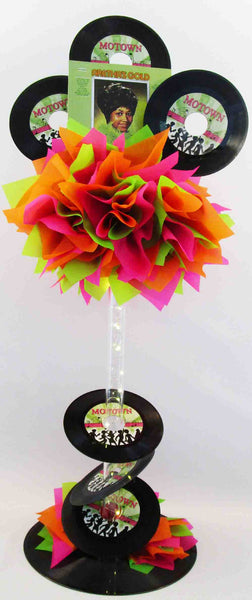 Neon tall record centerpiece - Designs by Ginny