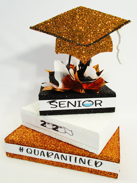 Quarantined 2020 graduation centerpiece-orange-black-white- designs by Ginny