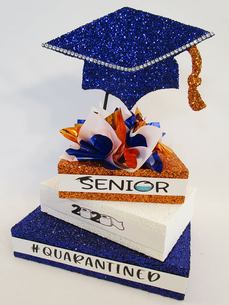 Quarantined-graduation-centerpiece-orange-royal-blue-white - Designs by Ginny