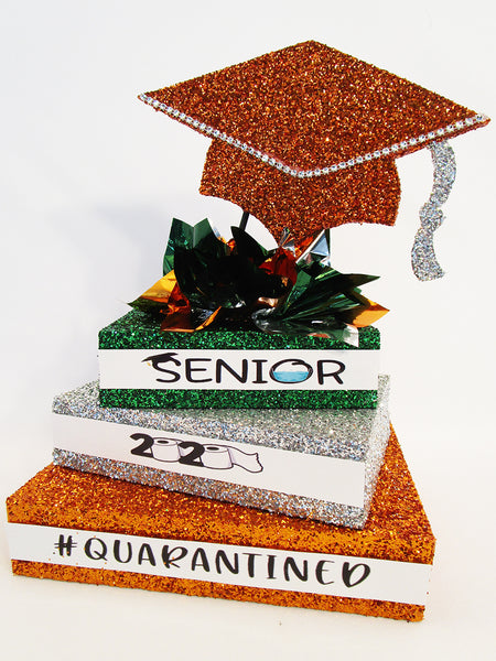 Quarantined 2020 graduation centerpiece-orange-silver-green - designs by Ginny