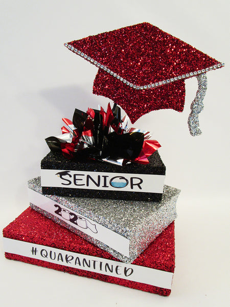 2020 graduation quarantined centerpiece-red-silver-black - Designs by Ginny