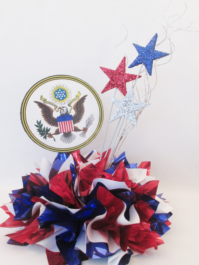 Custom US Seal Patriotic Centerpiece with metallic tissue base - Designs by Ginny