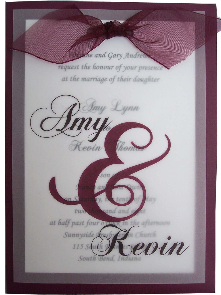 Vellum Overlay Bow Wedding Invite Designs by Ginny