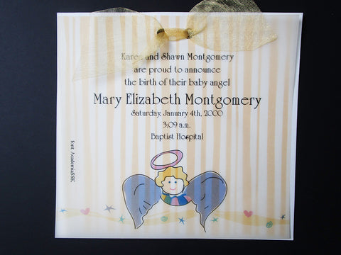 angel invite or announcement - Designs by Ginny